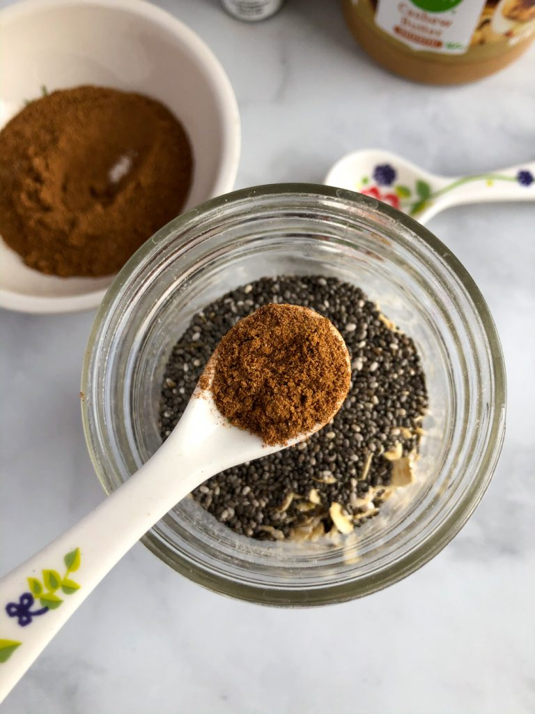 Adding homemade chai spice to overnight oats