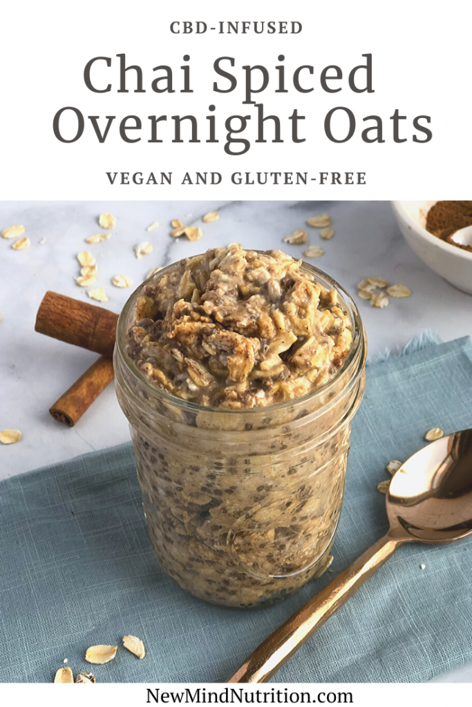 Pinterest image for chai spice overnight oats with CBD