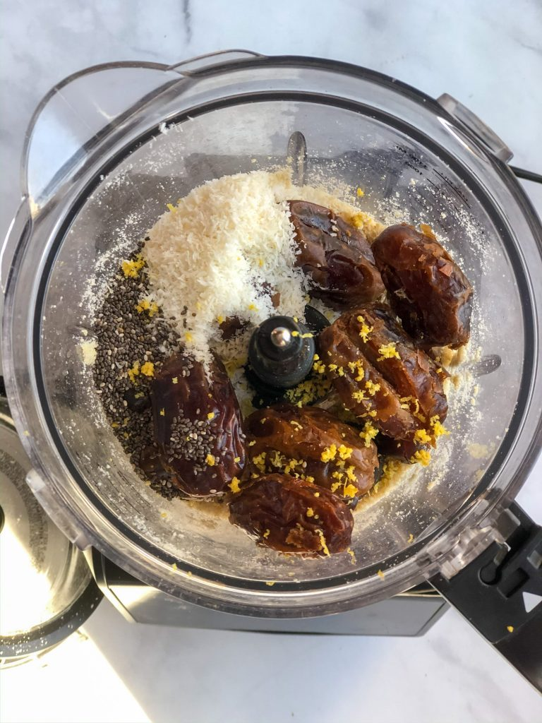 Adding ingredients into food processor